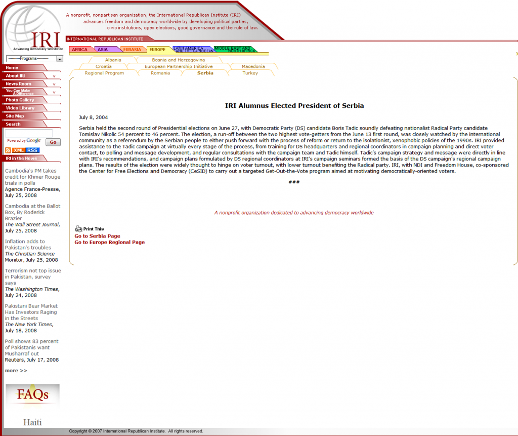 КОПИЈА УКЛОЊЕНЕ СТРАНИЦЕ СА САЈТА ИРИ (International Republican Institute) ИЗ 2004. ГОДИНЕ